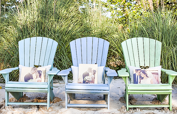 Pictured above: Three 11×14 PhotoBoards with green ribbon Printed images by @molliejanephotography