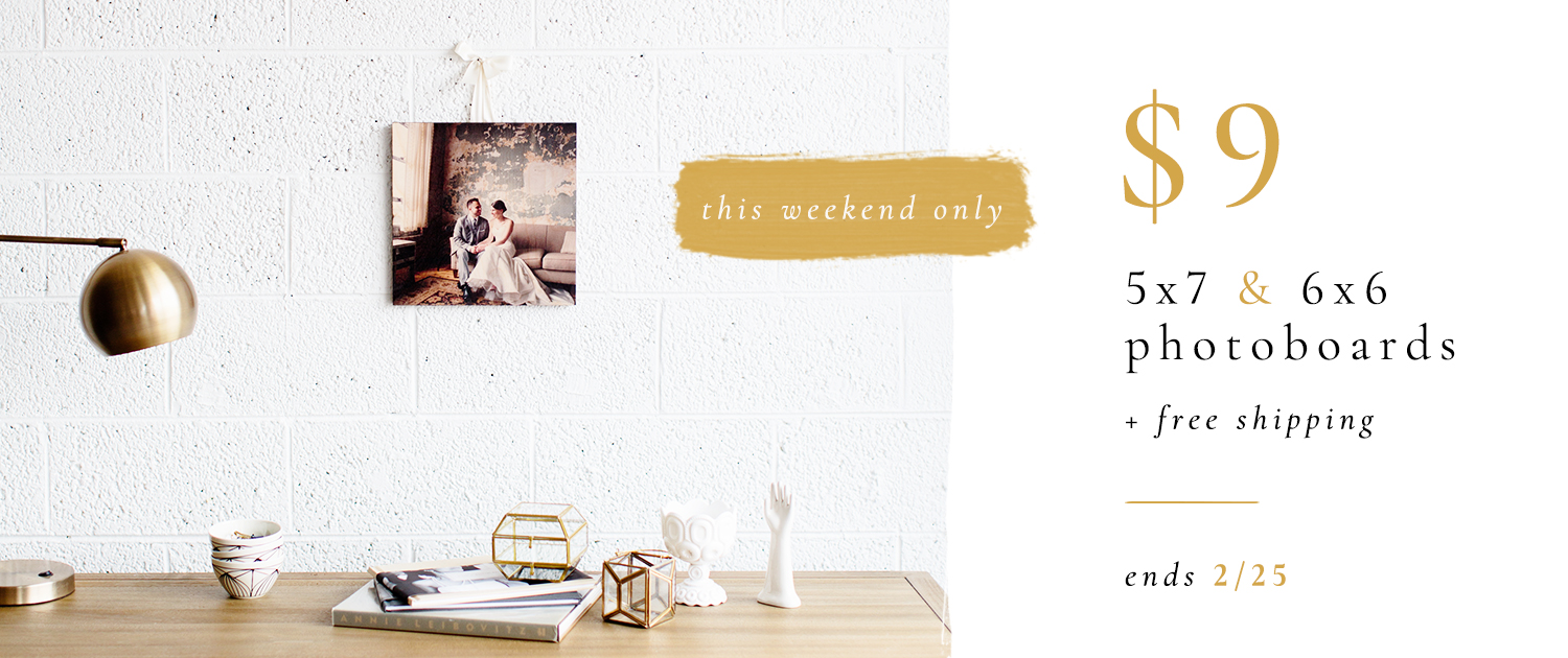 This weekend only! | $9 5x7 and 6x6 PhotoBoards + free shipping | Ends 2/25