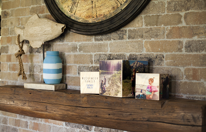 Display PhotoCubes on a mantel, shelf, coffee table or desk.