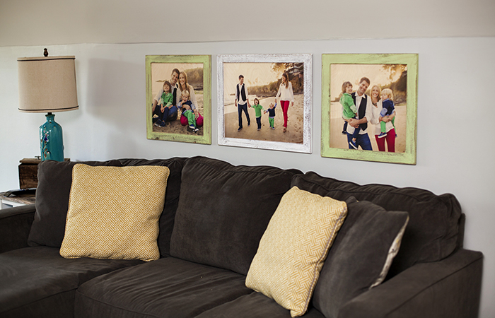 Pictured above: 1 – 20×24 Framed Wood Print with a 2″ Sea Green Painted Barnwood Frame 2 – 20×20 Framed Wood Prints with 2″ White Painted Barnwood Frames Printed images by @molliejanephotography