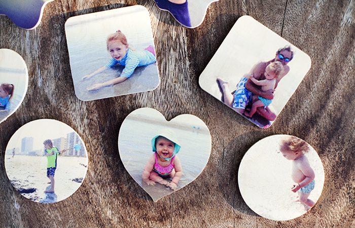 Pictured above: Heart, square, circle Wooden Photo Magnets. Printed images by @lindsayjane