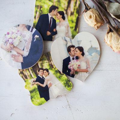 Wood photo magnets