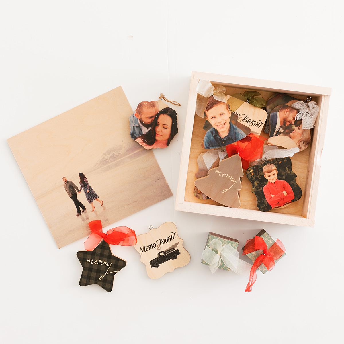 Wooden Ornaments & Ornament Box