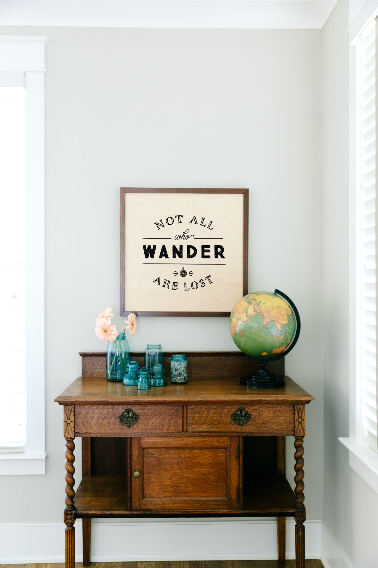 24×24 Framed Wood Sign Desk