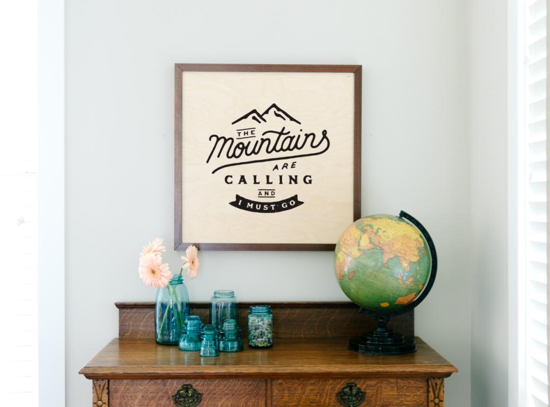 24×24 Framed Wood Sign Desk