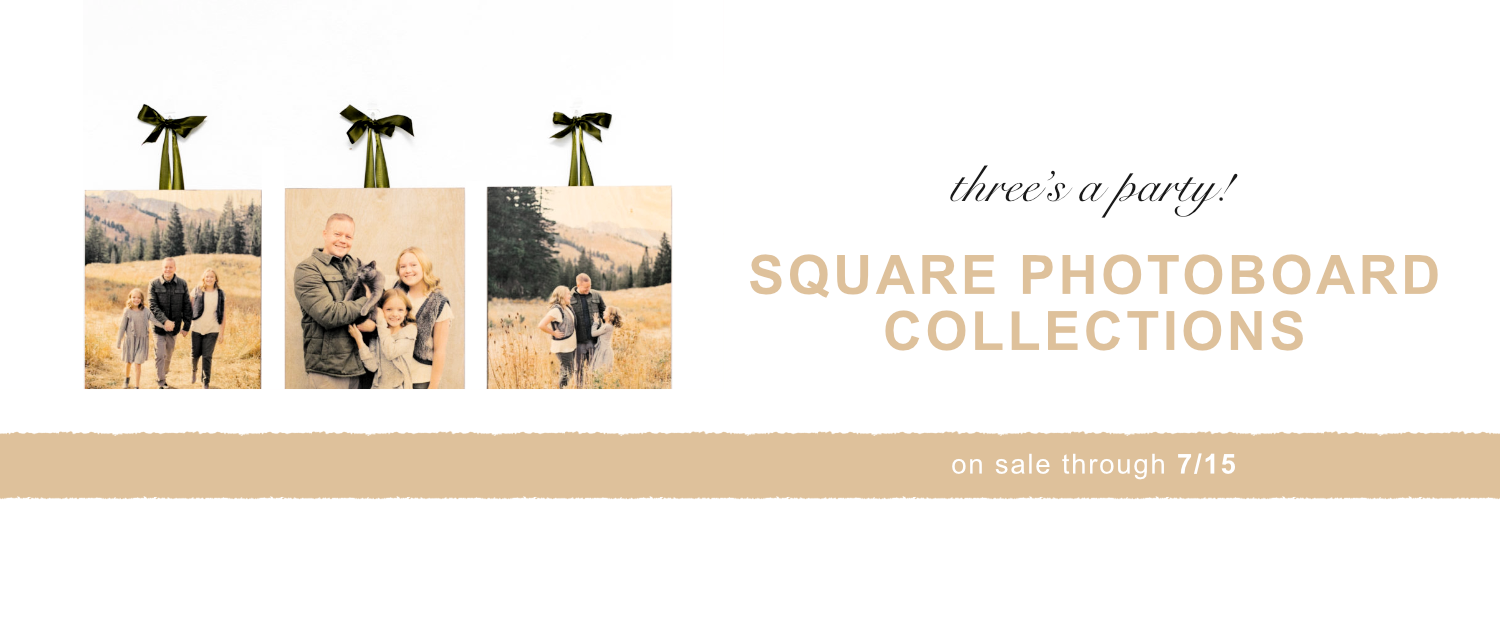 Three's a party! Square PhotoBoard Collections on sale through 7/15
