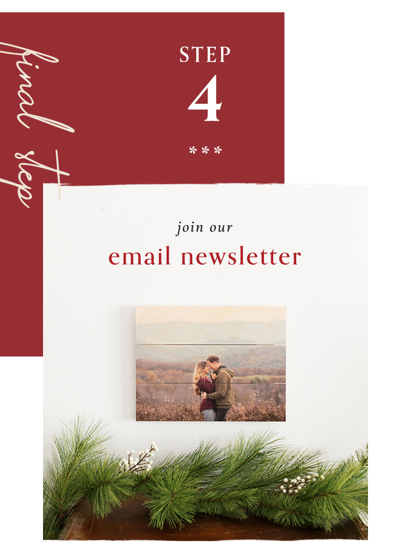 4) Join our email newsletter
